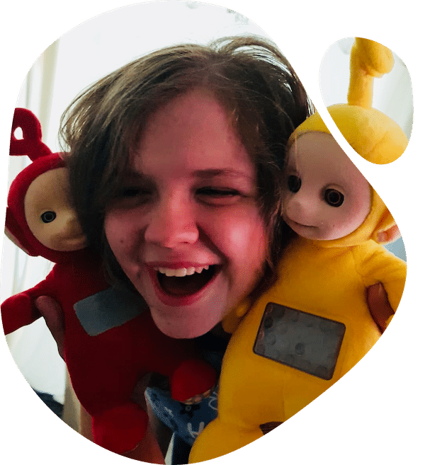 Girl with Teletubbies
